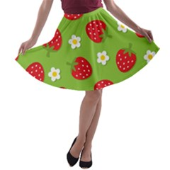 Strawberries Flower Floral Red Green A-line Skater Skirt