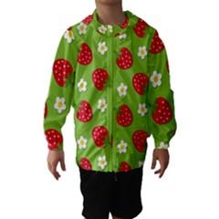 Strawberries Flower Floral Red Green Hooded Wind Breaker (Kids)