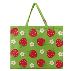 Strawberries Flower Floral Red Green Zipper Large Tote Bag