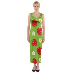 Strawberries Flower Floral Red Green Fitted Maxi Dress