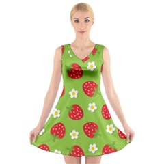 Strawberries Flower Floral Red Green V-Neck Sleeveless Skater Dress