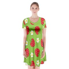 Strawberries Flower Floral Red Green Short Sleeve V-neck Flare Dress