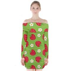Strawberries Flower Floral Red Green Long Sleeve Off Shoulder Dress
