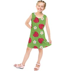 Strawberries Flower Floral Red Green Kids  Tunic Dress