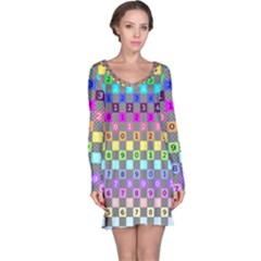 Test Number Color Rainbow Long Sleeve Nightdress