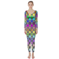 Test Number Color Rainbow Long Sleeve Catsuit