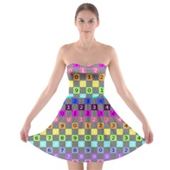 Test Number Color Rainbow Strapless Bra Top Dress