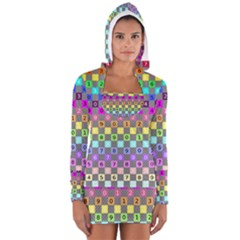 Test Number Color Rainbow Women s Long Sleeve Hooded T-shirt