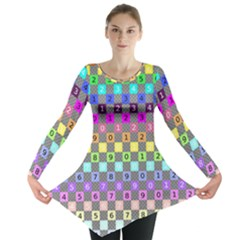 Test Number Color Rainbow Long Sleeve Tunic