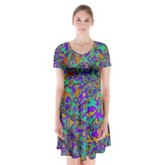 We Need More Colors 35a Short Sleeve V-neck Flare Dress