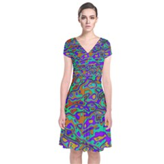 We Need More Colors 35a Short Sleeve Front Wrap Dress
