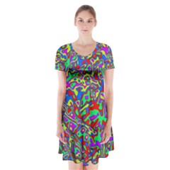 We Need More Colors 35c Short Sleeve V-neck Flare Dress