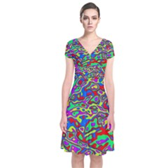 We Need More Colors 35c Short Sleeve Front Wrap Dress
