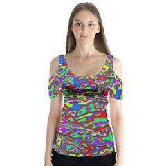 We Need More Colors 35c Butterfly Sleeve Cutout Tee