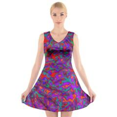 We Need More Colors 35b V-Neck Sleeveless Skater Dress