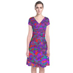We Need More Colors 35b Short Sleeve Front Wrap Dress