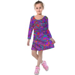 We Need More Colors 35b Kids  Long Sleeve Velvet Dress
