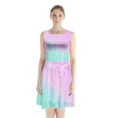 Pink green texture                                 Sleeveless Waist Tie Dress