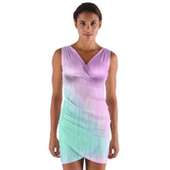 Pink green texture                                                          Wrap Front Bodycon Dress