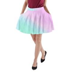 Pink green texture                                                       A-Line Pocket Skirt