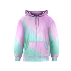 Pink green texture                                                       Kids Zipper Hoodie