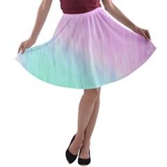 Pink green texture                                                       A-line Skater Skirt