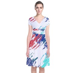 Scribbles                      Short Sleeve Front Wrap Dress