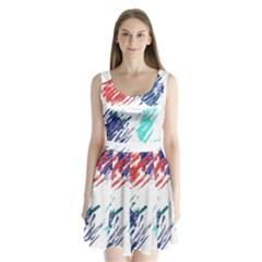 Scribbles                                      Split Back Mini Dress