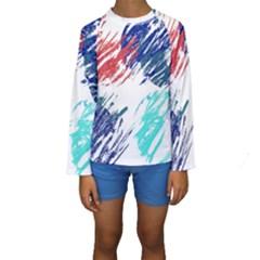 Scribbles                                                        Kid s Long Sleeve Swimwear