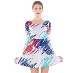 Scribbles                                                       Long Sleeve Velvet Skater Dress