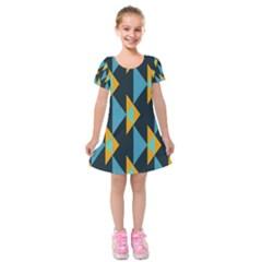 Yellow Blue Triangles Pattern                                  Kids  Short Sleeve Velvet Dress