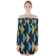 Yellow Blue Triangles Pattern                             Long Sleeve Off Shoulder Dress
