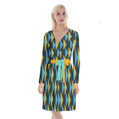 Yellow Blue Triangles Pattern                                  Long Sleeve Velvet Front Wrap Dress