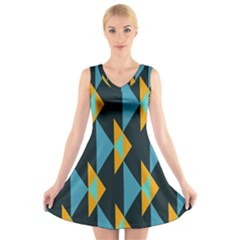 Yellow blue triangles pattern                                                    V-Neck Sleeveless Dress