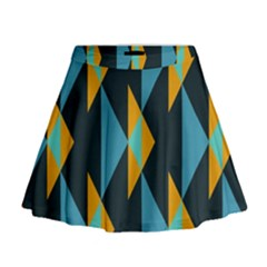 Yellow Blue Triangles Pattern                                                          Mini Flare Skirt