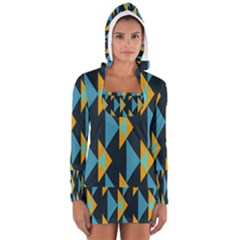 Yellow blue triangles pattern                                                        Women s Long Sleeve Hooded T-shirt