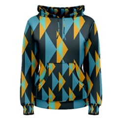 Yellow blue triangles pattern                                                        Women s Pullover Hoodie