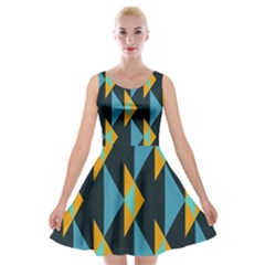Yellow Blue Triangles Pattern                                                        Velvet Skater Dress