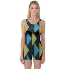 Yellow blue triangles pattern                                                        Women s Boyleg One Piece Swimsuit
