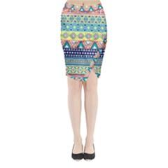Cute pink bohemian Midi Wrap Pencil Skirt