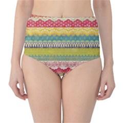 Colorful bohemian High-Waist Bikini Bottoms