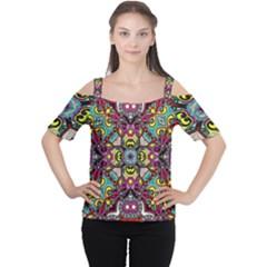 Traitional floral purple Women s Cutout Shoulder Tee