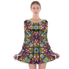 Traitional floral purple Long Sleeve Skater Dress