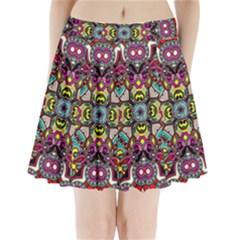Traitional floral purple Pleated Mini Skirt