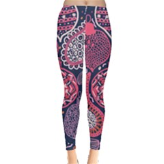 Colorful bohemian purple leaves Leggings