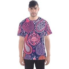 Colorful bohemian purple leaves Men s Sport Mesh Tee