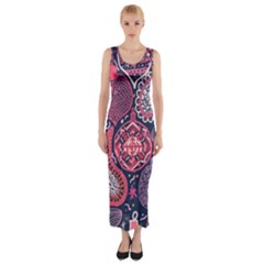 Colorful bohemian purple leaves Fitted Maxi Dress