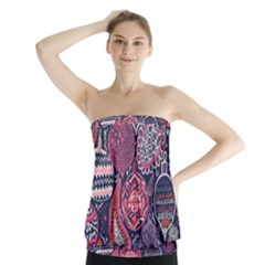 Colorful bohemian purple leaves Strapless Top