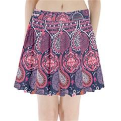 Colorful bohemian purple leaves Pleated Mini Skirt