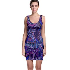 Abstract electric blue hippie vector  Sleeveless Bodycon Dress